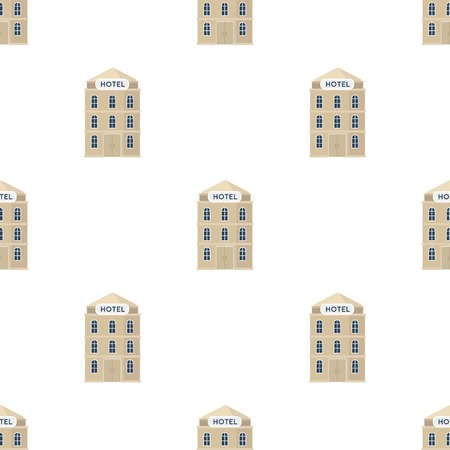 apartment bell: Hotel building icon in cartoon design isolated on white background. Rest and travel symbol stock vector illustration.