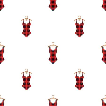 Plaid swimsuit in red and . Underwear for swimming.Swimcuits single icon in cartoon style vector symbol stock illustration.