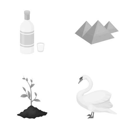 ecology, flora, fauna, and other  icon in monochrome style., bird, proud rare icons in set collection