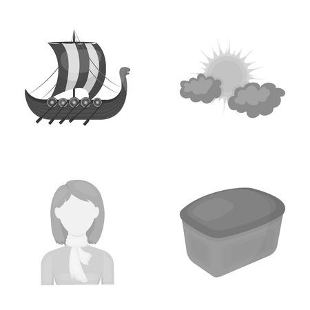 歴史、旅行、美容、白黒 style.pastries、食品、自然のアイコン セットのコレクションの他の web アイコン。  イラスト・ベクター素材