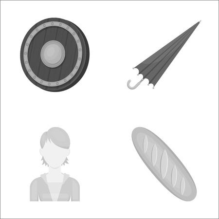 ビジネス、美容師、歴史、モノクロ スタイルの web アイコン。パン、パン、食品アイコン セットのコレクション。
