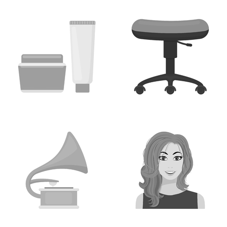 business, cosmetology, salon and other web icon in monochrome style.hairstyle, makeup, model, icons in set collection. Çizim
