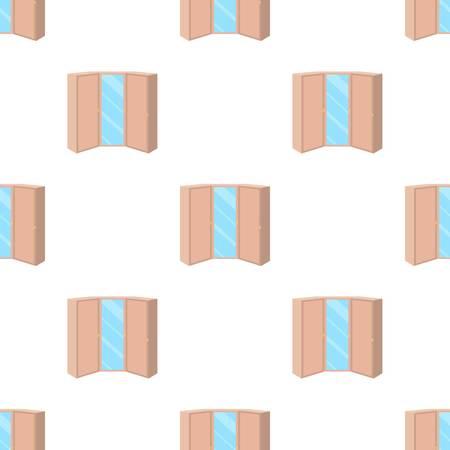 2 つのドアとミラーのピンクの衣装。寝室のワードローブ。漫画イラスト ベクトル シンボル ストック web で寝室家具の 1 つのアイコン。