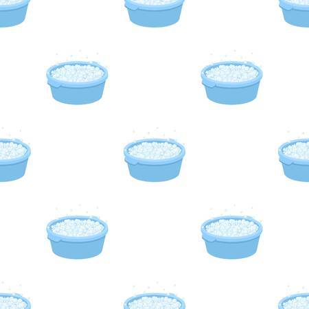 Basin with soap suds and water icon in cartoon design isolated on white background. Cleaning symbol stock vector illustration.