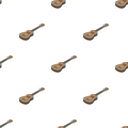 Acoustic bass guitar icon in cartoon style isolated on white background. Musical instruments symbol stock vector illustration. Illustration