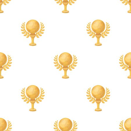 Golden planet with a wreath.The trophy for the best film about the Earth.Movie awards single icon in cartoon style vector symbol stock web illustration. Illustration