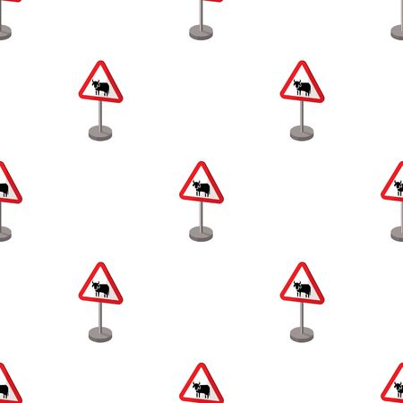 beware: Warning road sign icon in cartoon style isolated on white background. Road signs symbol stock vector illustration. Illustration