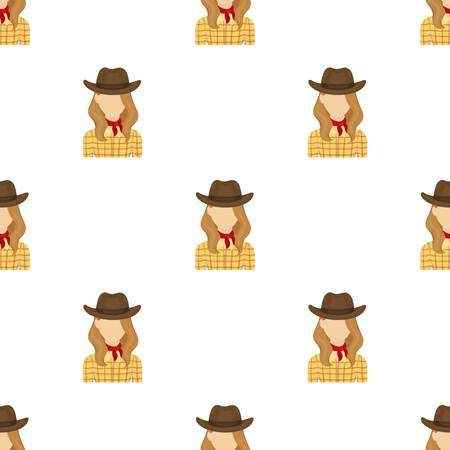 Cowgirl icon in cartoon style isolated on white background. Rodeo symbol stock vector illustration.
