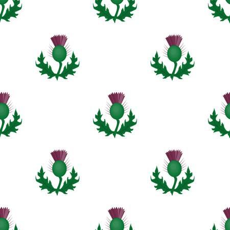 녹색 잎으로 엉 겅 퀴입니다. 스코틀랜드의 Misicinal 공장입니다. 스코틀랜드 만화 스타일에서 단일 아이콘 벡터 기호 재고 일러스트 레이 션.