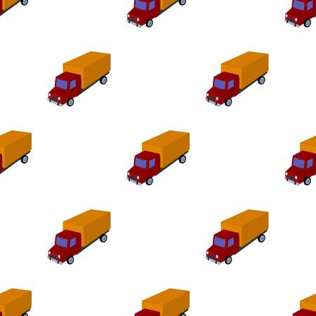 Red truck with a yellow body. The car for cargo transportation.Transport single icon in cartoon style vector symbol stock illustration.