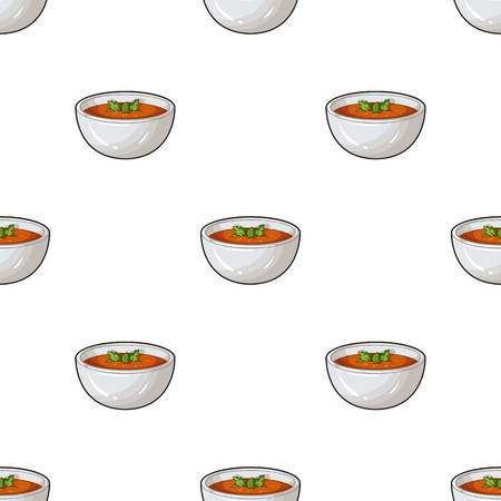 Porcelain tureen with the soup.Vegetarian soup-puree of pumpkin.Vegetarian Dishes single icon in cartoon style vector symbol stock illustration. Illustration