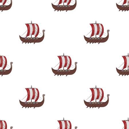 Vikings ship icon in cartoon style isolated on white background. Vikings symbol stock vector illustration.