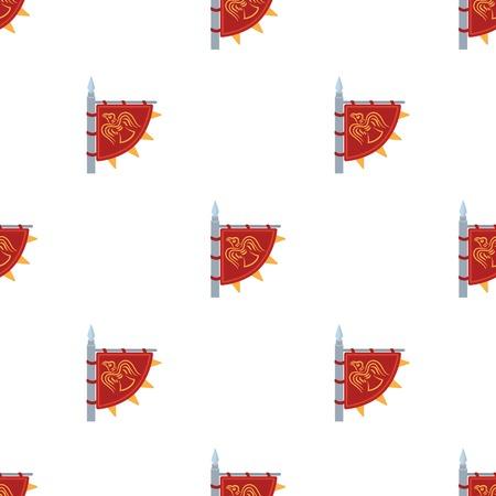 Vikings flag icon in cartoon style isolated on white background. Vikings symbol stock vector illustration. Illustration