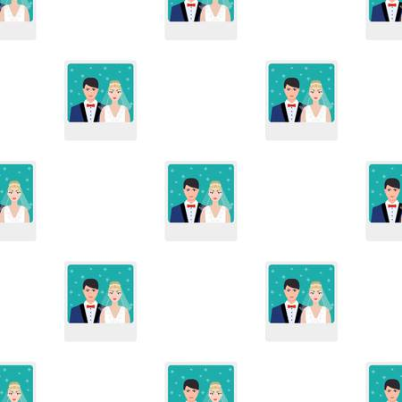 Ein Bild von der Braut und Bräutigam sieht auf der Wand.Wedding einzigen Symbol in Cartoon-Stil Vektor-Symbol stock Illustration.