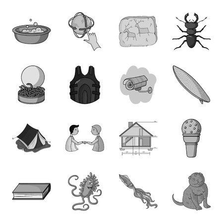 virus bacteria: security, camping, education and other  icon in monochrome style.octopus, cat, animal icons in set collection.