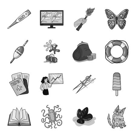 antiquity: education, fishing, antiquity and other  icon in monochrome style. cat, animal, malyusk icons in set collection. Illustration