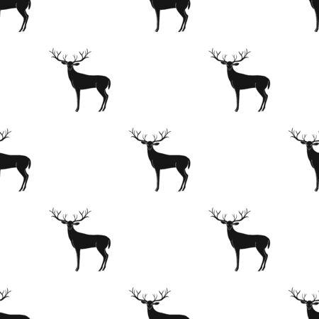 큰 경적을 가진 사슴입니다. 흑인 단일 스타일에서 벡터 아이콘 벡터 기호 재고 일러스트 웹.