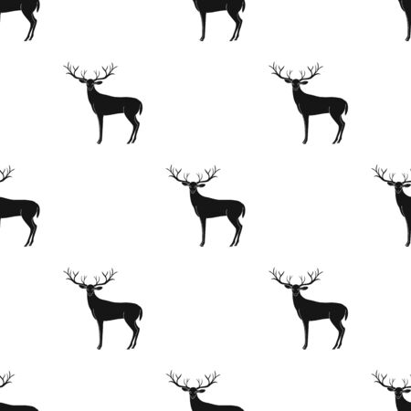 Deer with big horns.Animals single icon in black style vector symbol stock illustration web. Ilustração