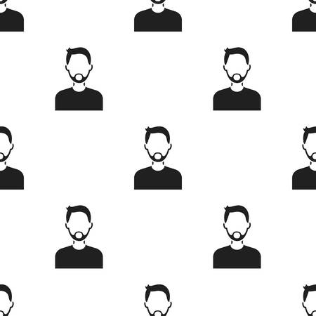 Man with beard icon black. Single avatar,peaople icon from the big avatar black.