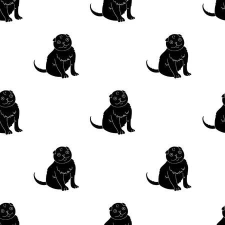 Scottish Fold icon in black style isolated on white background. Cat breeds symbol stock vector illustration.