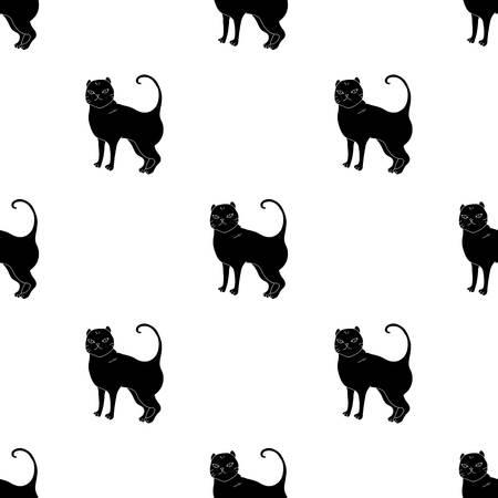 Brits Shorthair-pictogram in zwarte die stijl op witte achtergrond wordt geïsoleerd. Kat broedt symbool voorraad vectorillustratie.