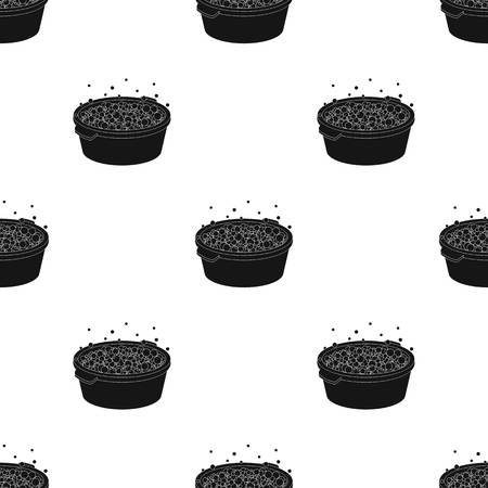 Basin with soap suds and water icon in black style isolated on white background. Ilustração