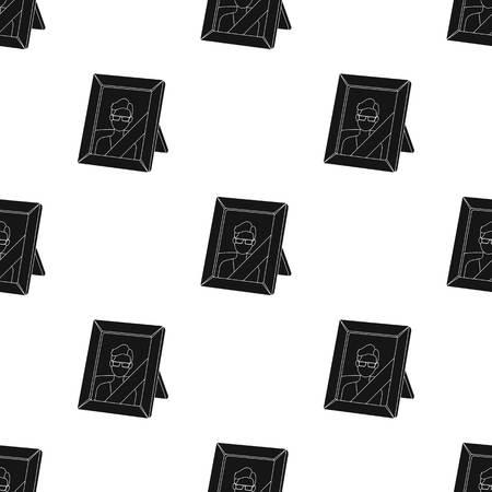 흰색 배경에 고립 된 검은 스타일에 죽은 사람 아이콘의 초상화. 장례 식 기호 주식 벡터 일러스트 레이 션.