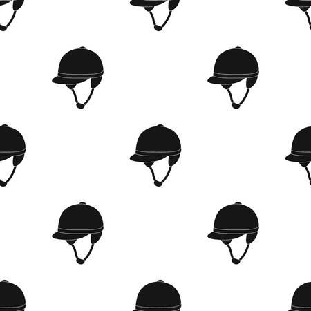 Jockeys helmet icon in black style isolated on white background. Hippodrome and horse symbol stock vector illustration.