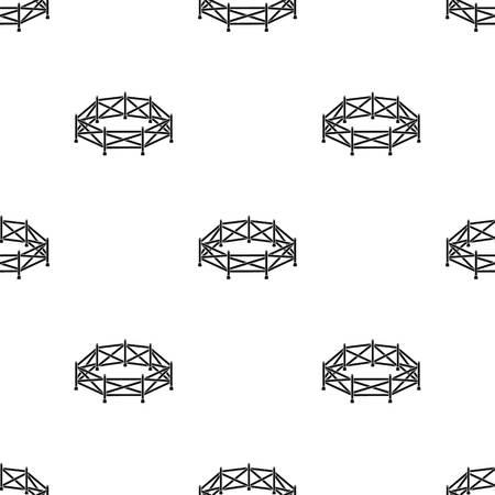 흰색 배경에 고립 된 검은 스타일 목장 아이콘. 경마장 및 말 기호 주식 벡터 일러스트 레이 션.