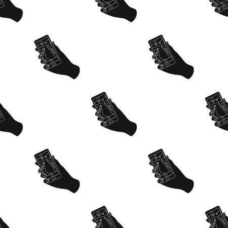 Tomar fotos en el icono de teléfono inteligente en estilo negro aislado sobre fondo blanco. Ilustración de Hipster estilo símbolo stock vector.