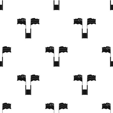 Rusland en China vlaggen pictogram in zwart ontwerp geïsoleerd op een witte achtergrond. Tolk en vertaler symbool voorraad vectorillustratie Stock Illustratie