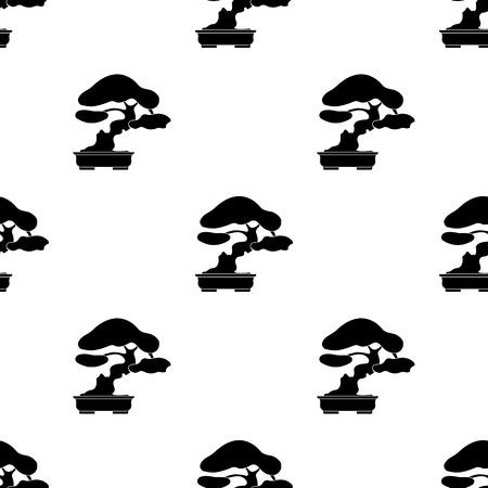 Bonsai pictogram in zwarte stijl geïsoleerd op een witte achtergrond. Japan symbool vectorillustratie.