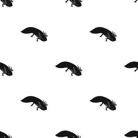 흰색 배경에 고립 된 검은 스타일 멕시코 axolotl 아이콘. 멕시코 국가 상징 벡터 일러스트 레이 션.