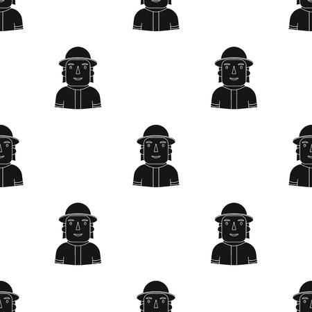 Firefighter icon in black style isolated on white background. People of different profession symbol stock vector illustration.