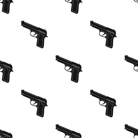 Handgun icon in black design isolated on white background. Police symbol stock vector illustration.