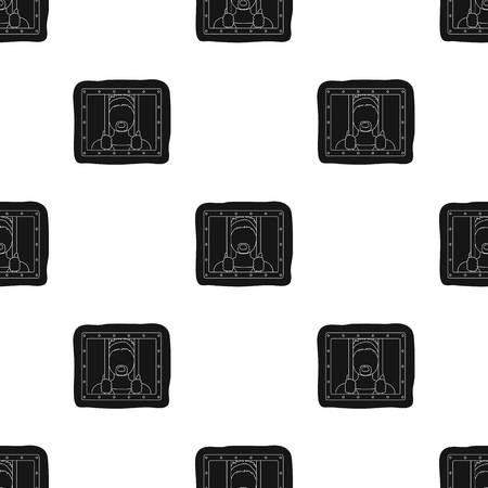 Prisoner icon in black design isolated on white background. Police symbol stock vector illustration.
