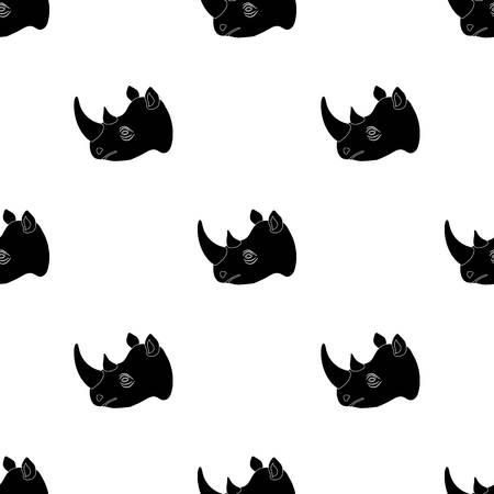 Rhinoceros icon in black design isolated on white background. Realistic animals symbol stock vector illustration.