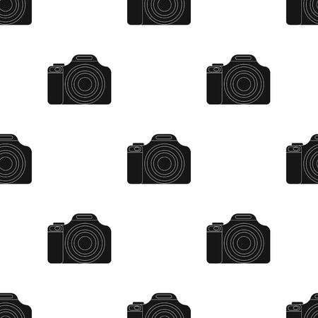 jorney: Digital camera icon in black design isolated on white background. Rest and travel symbol stock vector illustration. Illustration