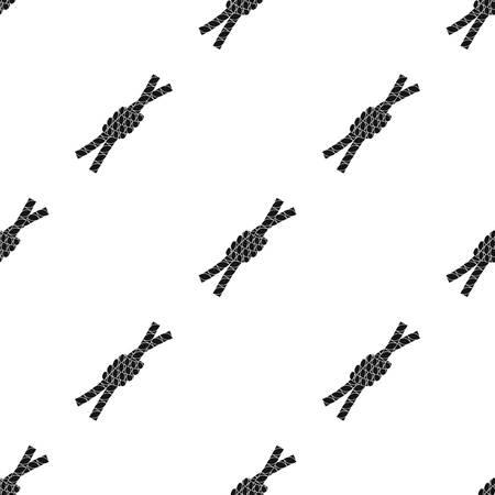 ノードなげなわアイコンを白い背景で隔離の黒のデザインで。ロデオ シンボル株式ベクトル イラスト。  イラスト・ベクター素材