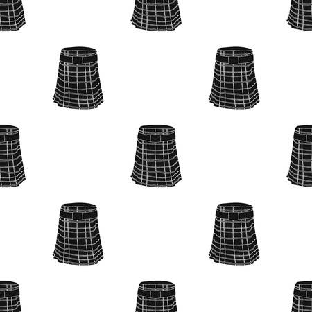 Kilt icon in black design isolated on white background. Scotland country symbol stock vector illustration.