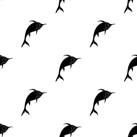 Marlin fish icon in black design isolated on white background. Sea animals symbol stock vector illustration.
