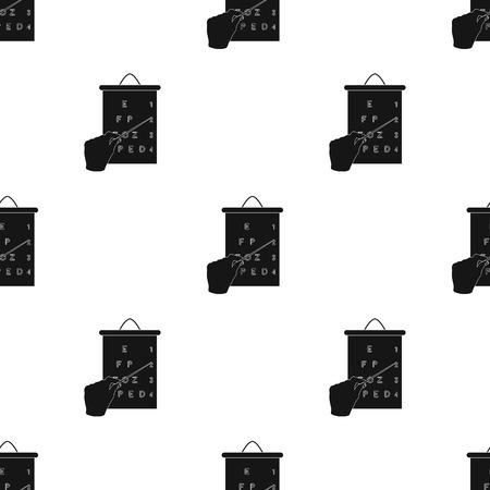 ジェスチャー、表に従ってビジョンをチェックするときのポインターが付いている手の操作。医学単一黒スタイル ベクトル シンボル ストック イラ