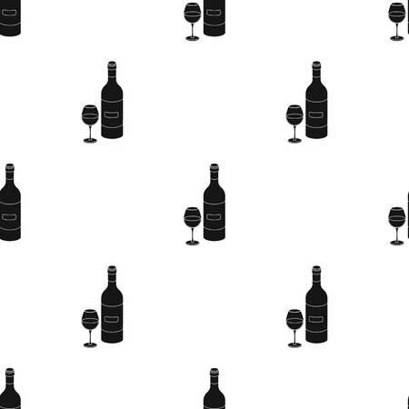 Spaanse wijnfles met glazen icoon in zwart ontwerp geïsoleerd op een witte achtergrond. Spanje land symbool stock vector illustratie.