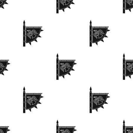 Vikingen vlagpictogram in zwarte stijl geïsoleerd op een witte achtergrond. Vikingen symbool voorraad vectorillustratie Stock Illustratie