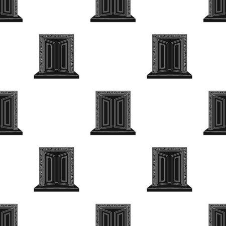 Gates to Valhalla icon in black style isolated on white background. Vikings symbol stock vector illustration.
