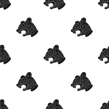 Animal head of vikings ship icon in black design isolated on white background. Vikings symbol stock vector illustration.