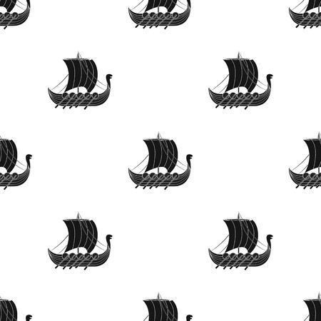 Vikings ship icon in black design isolated on white background. Vikings symbol stock vector illustration. Illustration