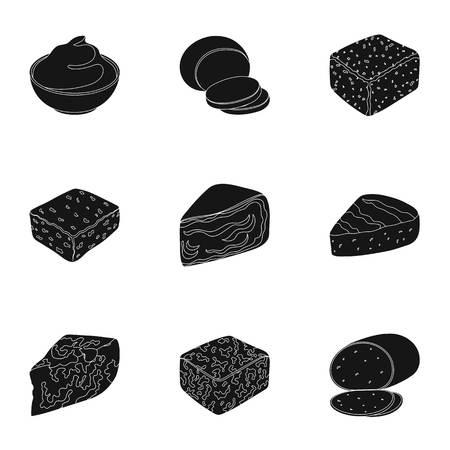 チーズの種類。チーズの種類は、ブラック スタイル ベクトル シンボル ストック イラスト web コレクションのアイコンを設定します。 写真素材 - 84289629
