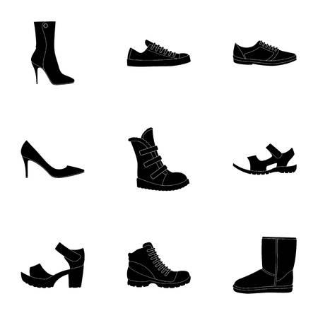 Ein Satz Ikonen auf einer Vielzahl von Schuhen Verschiedene Schuhe sondern Ikone in der schwarzen Artvektorsymbolvorrat-Netzillustration aus.
