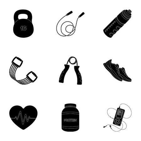 Jump rope, ball, scales other items for health.Gym And Workout set collection icons in black style vector symbol stock illustration. Vetores
